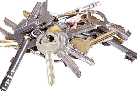 keyring: bunch of keys on white background Stock Photo