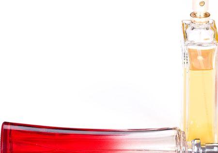 parfum: bottle of parfum on white background Stock Photo