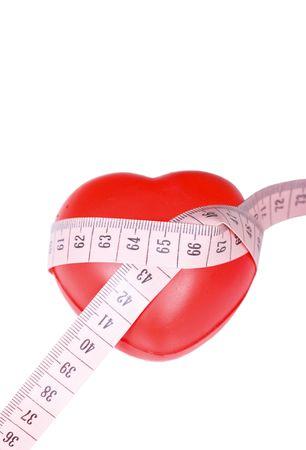 coeur rouge avec mesure Rose isol� Banque d'images