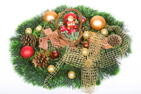 beautiful shiny decorative christmas wreath photo