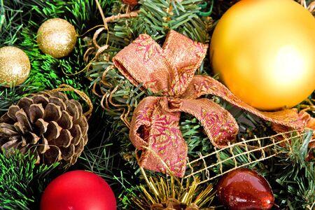 beautiful shiny decorative christmas wreath photo
