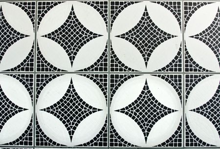 floor tiles: black and white mosaic background