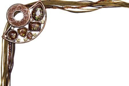 beautiful natural shiny necklace frame on white background photo