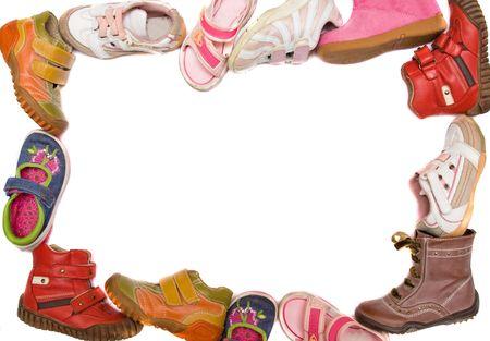 children boots frame on white background