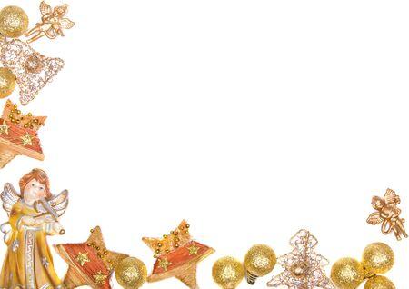 beautiful shiny decorative christmas wreath frame Stock Photo