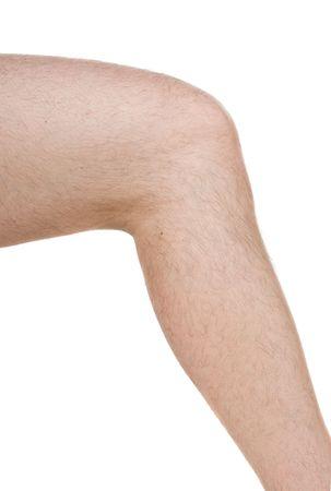 partes del cuerpo humano: rodilla masculina sobre fondo blanco