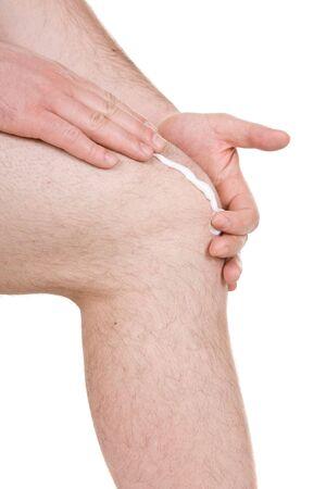 anklebone: male knee on white background