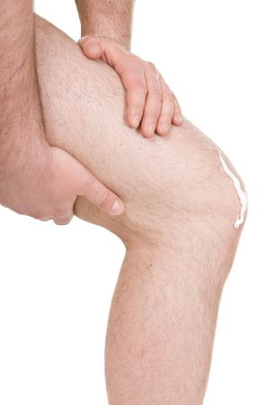 anklebone: male knee on white background