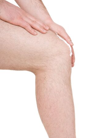 male knee on white background photo