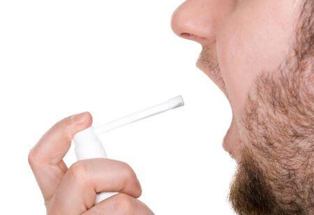 pharyngitis: man sick on white background