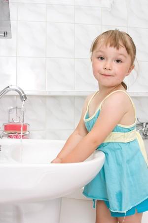 happy little girl in toilet photo