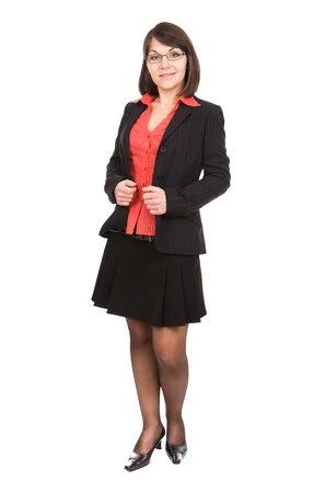 secretaria: mujer de negocios sobre fondo blanco