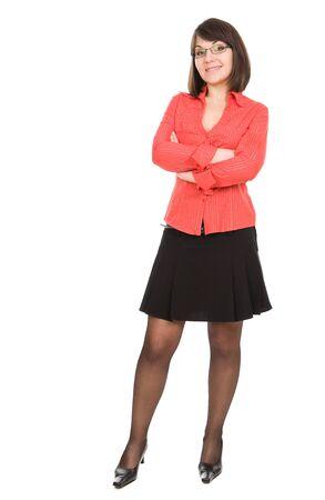 sexy secretary: mujer de negocios sobre fondo blanco