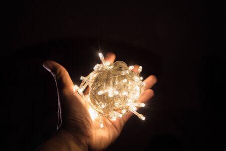 LED light ball on hand