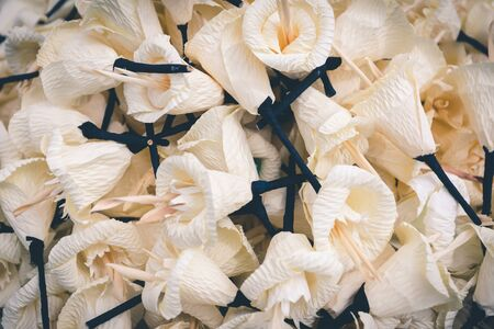 Dok mai chan or Funeral wood flower is a symbol of funeral ceremony, closeup looking from the top 版權商用圖片