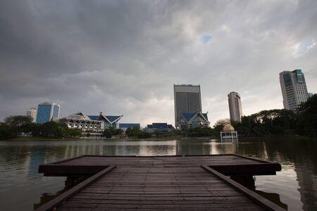 shah: The skyline of the city of Shah Alam seen from Shah Alam Lake Gardens Editorial