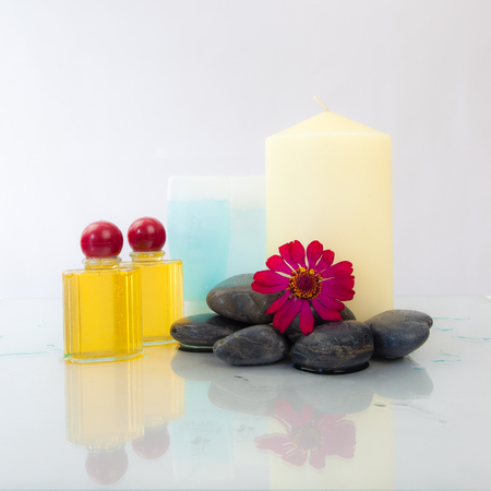gels: Candles,Gels,Flower and Spa Products Isolated on white background Stock Photo