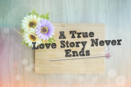 positiveness: A TRUE LOVE STORY NEVER ENDS words on the wooden background vintage retro or rustic style with flowers