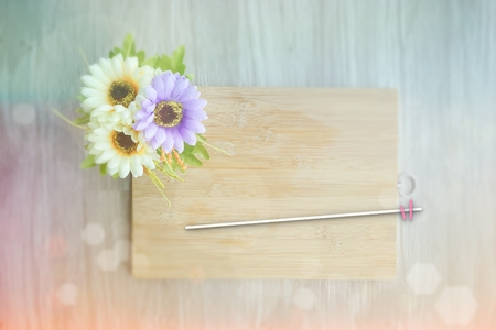 COPY SPACE -wooden background vintage retro or rustic style with flowers