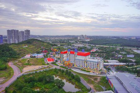 december sunrise: JOHOR , MALAYSIA - DECEMBER 21, 2016: Aerial view of the Legoland Malaysia theme park at sunrise in Johor , Malaysia