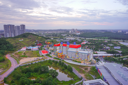 sightseers: JOHOR , MALAYSIA - DECEMBER 21, 2016: Aerial view of the Legoland Malaysia theme park at sunrise in Johor , Malaysia