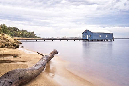 Blue Boathouse in the Swan River Perth, Australia