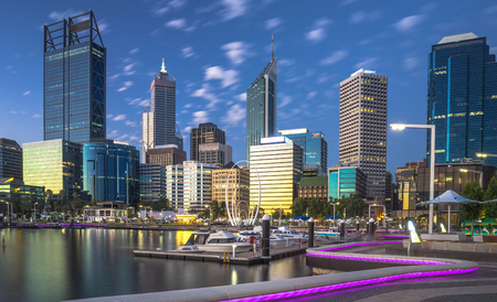 Elizabeth Quay waterfront at blue hour in Perth Western Australia