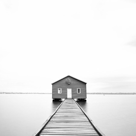 Blue Boathouse in black and white