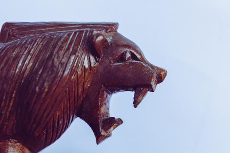Wooden Lion Head Roar