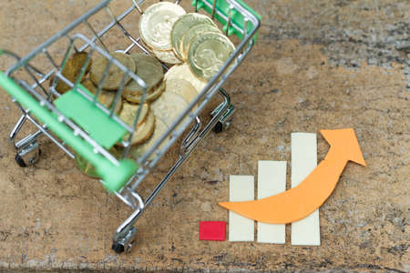 purchasing power: Trolley filled with coins beside chart showing increasing  rising trend. Concept of growth in business,spending and purchasing power,economy. Concept of inflation. Concept of financial issue.