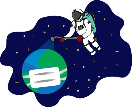 disinfectant for the earth due to covid-19, astronauts spray disinfectant. theme astronaut covid -19. This design is suitable for children's t-shirts, digital printing, earth day stickers, etc 일러스트