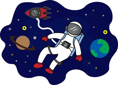 happy astronaut in space. suitable for backgrounds, wallpapers, kids t-shirts, digital printing etc.