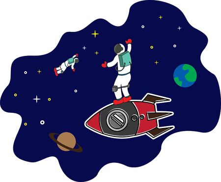 vector illustration of two astronauts in space working together. This picture is suitable for children's books, digital printing, t-shirts, picture books etc