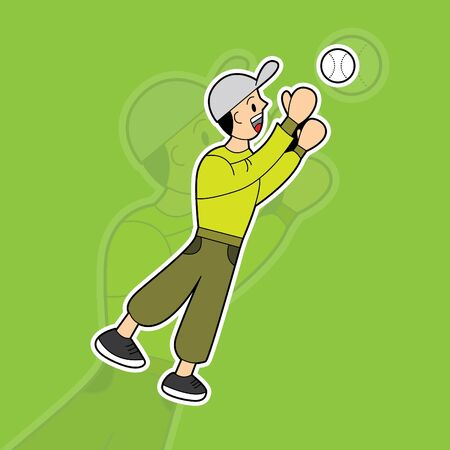 illustration vector graphic of man playing baseball and catch the ball. suitable for mascot, drawing book, children book, sticker, t-shirt, game characters, etc. Stock Illustratie