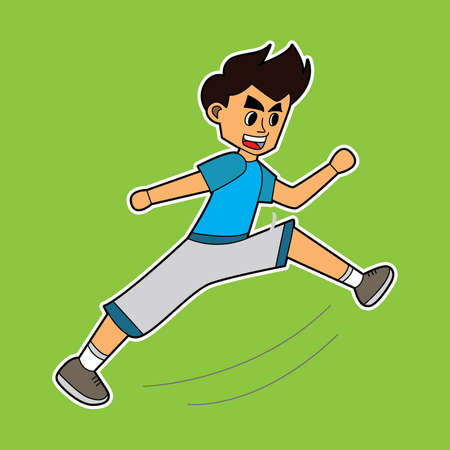 illustration vector graphic of game charcters karate kid with kicking movements. suitable for game 2d. game characters, game fight, game 2D, game characters, drawing books, mascot, etc.