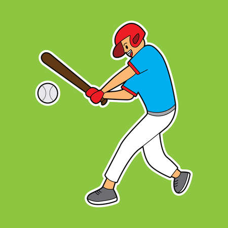 illustration vector graphic of boy playing baseball. suitable for game characters, sport mascot, t-shirt, cartoon illustration, children book. drawing book, etc