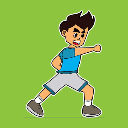 illustration vector graphic of game characters karate kids. suitable for game characters fight, mascot, cartoon book illustrations, drawing book, children book, etc Vecteurs
