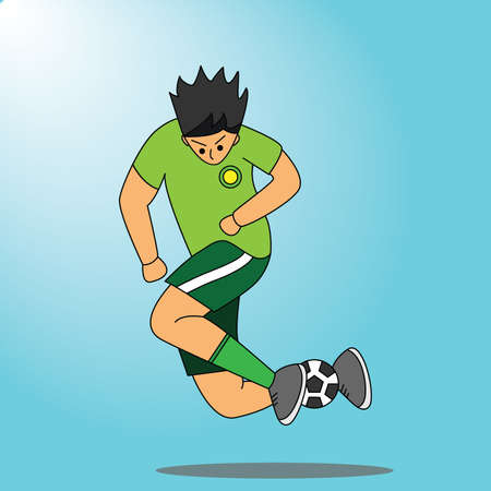 illustrator vector graphic of soccer player. suitable for drawing book, children book, book sport education. Etc