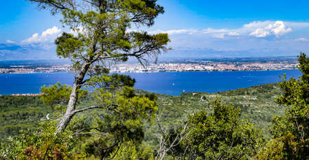View of the Adriatic Sea with the city of Zadar and the Velebit Mountains in the background