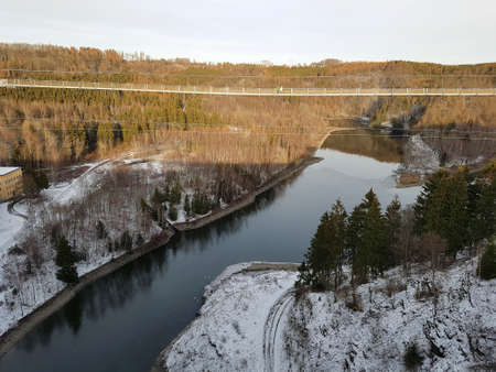 Rappode Dam with suspension bridge also known as Titan RT with dam and the river Bode in winter time