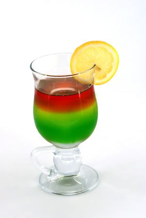 mixed jelly with fruite segments in glass