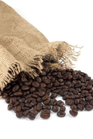 burlap bag with cofee bean against white background Stock Photo - 6008025