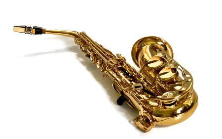 alto sax against white background