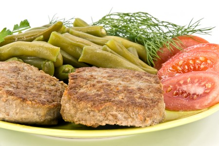 rubicund: meat rissoles and vegetables on plate