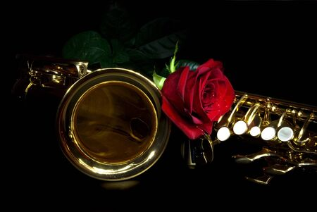 alto sax in the dark with rose Stock Photo