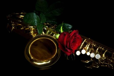 alto sax in the dark with rose photo