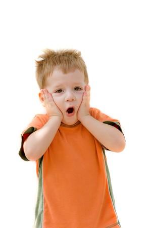 poppet: small fair-haired amazed boy  Stock Photo