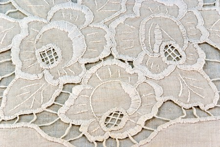detail of embroidered napkin  photo