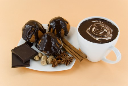 cakes with spice and hot chocolate Stock Photo - 7856060