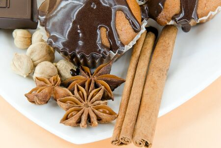 baked treat: cakes with spice and chocolate